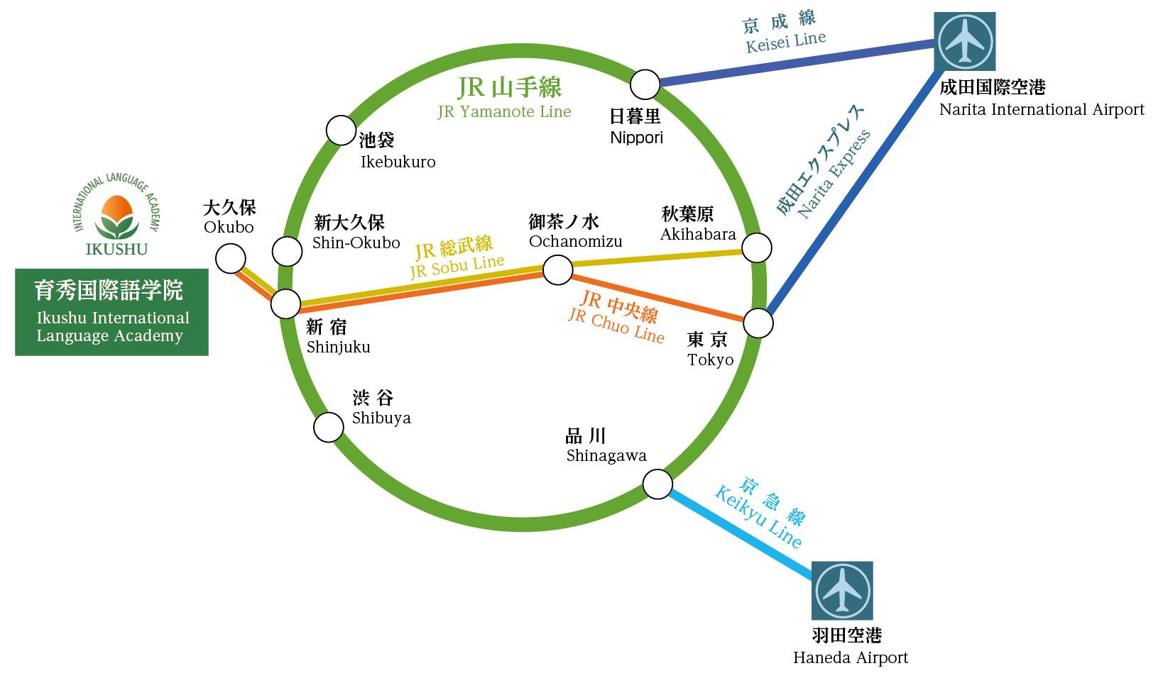 空港からの路線図